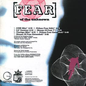 Fear (Of The Unknown) US CD Single Back Cover - Click Here For Bigger Scan
