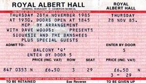 Royal Albert Hall 28/11/85 Ticket - Click Here For Bigger Scan