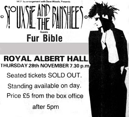 Royal Albert Hall 28/11/85 Advert - Click Here For Bigger Scan