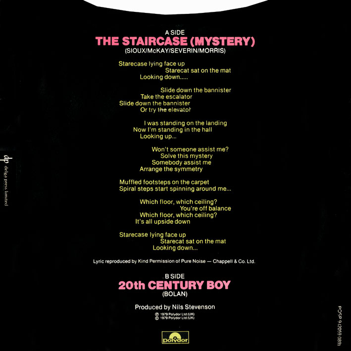 "The Staircase (Mystery) 7"" Single Back Cover"