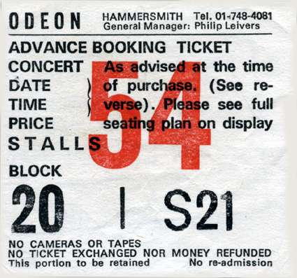 Hammersmith Odeon Ticket 25/10/85 - Courtesy Of Pierrelemer - Click Here For Bigger Scan